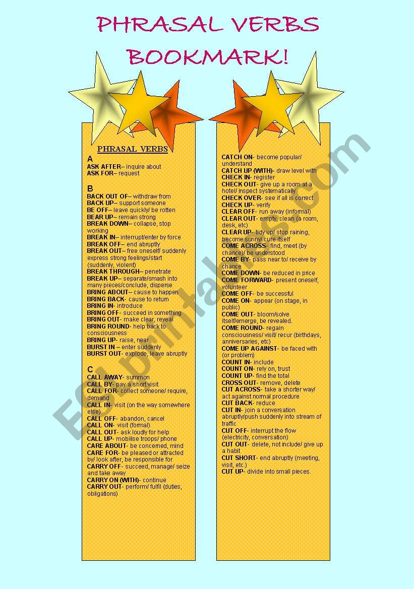 Bookmarks - Phrasal Verb - 1st Part