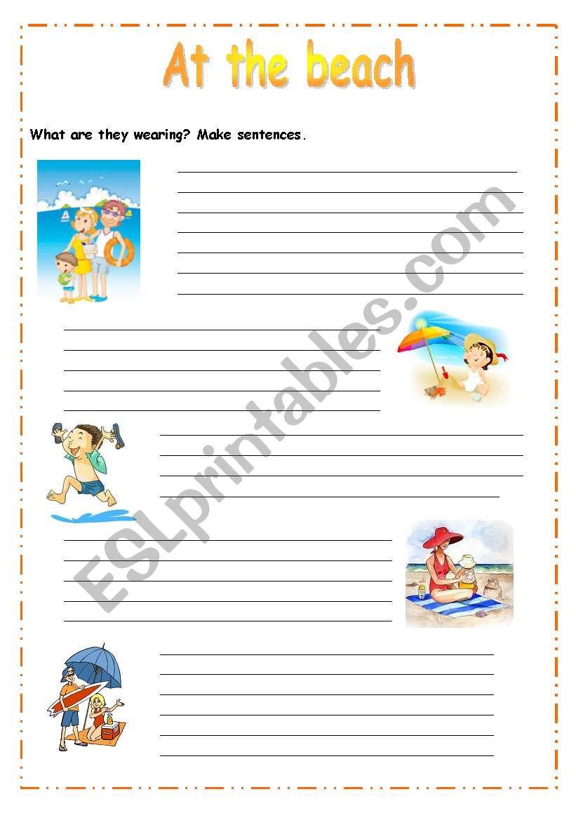 At the beach worksheet