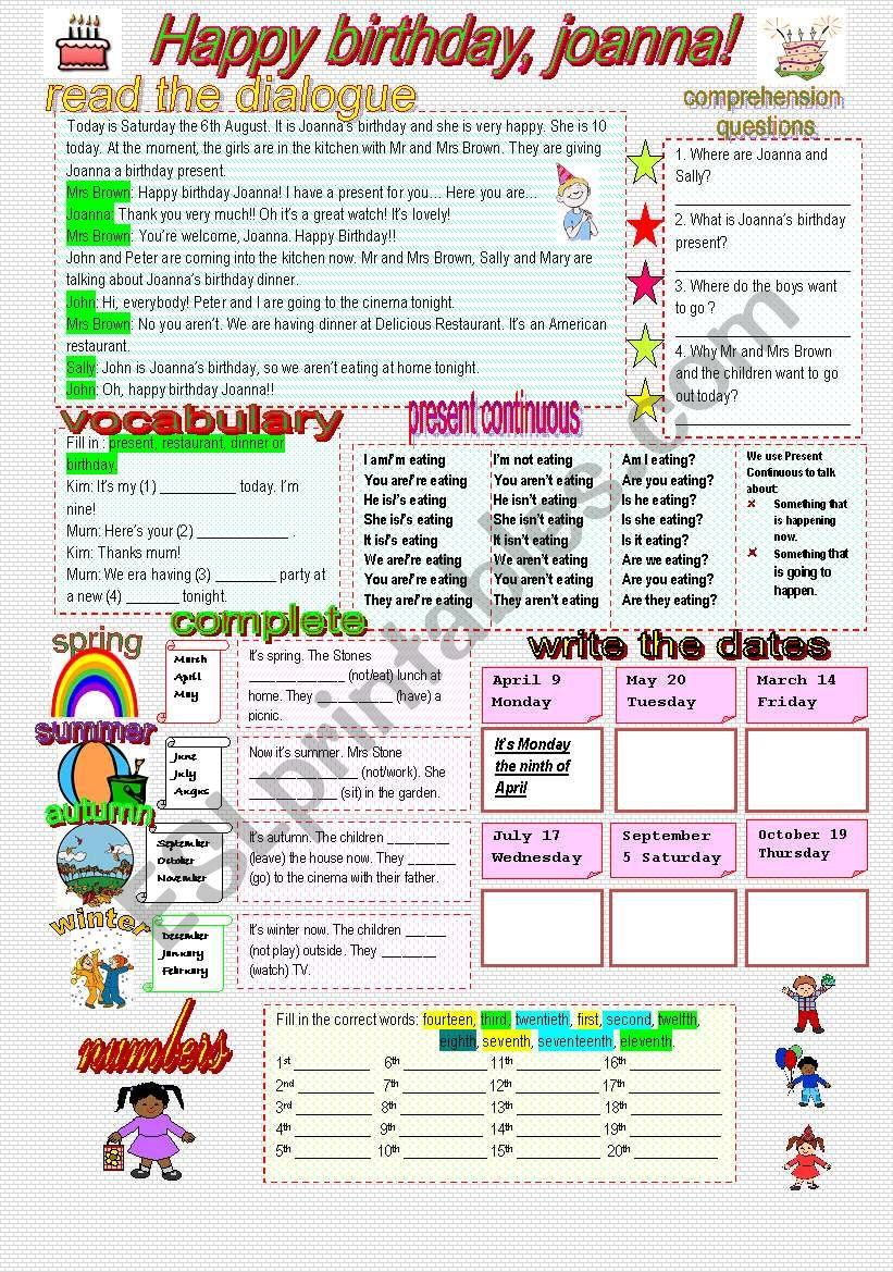 HAPPY BIRTHDAY JOANNA worksheet