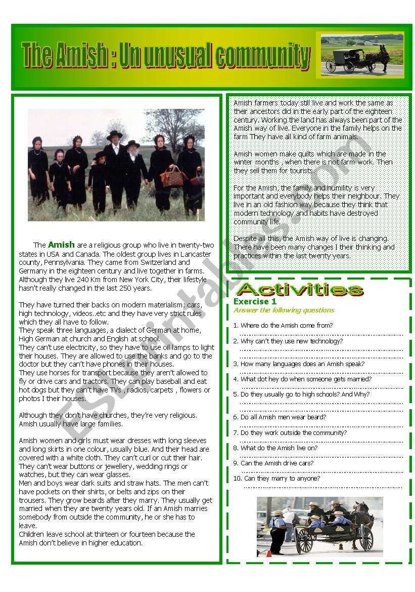 The Amish : READING AND GRAMMAR Series Nº 9