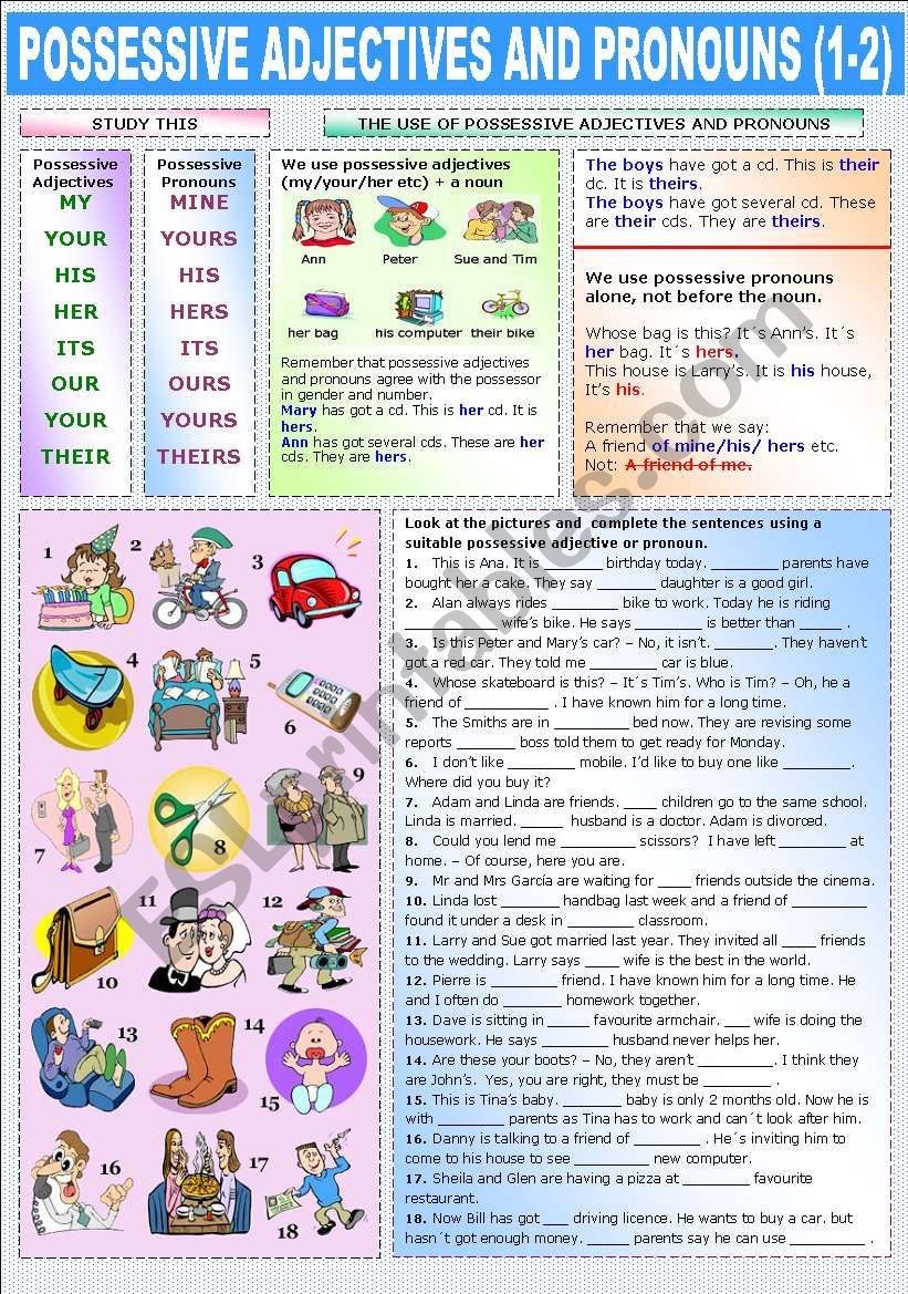 POSSESSIVE ADJECTIVES AND PRONOUNS (1-2)