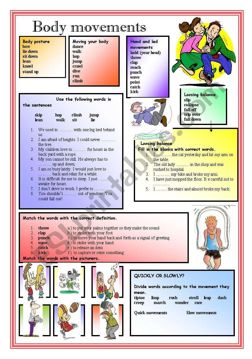 Body movements  worksheet