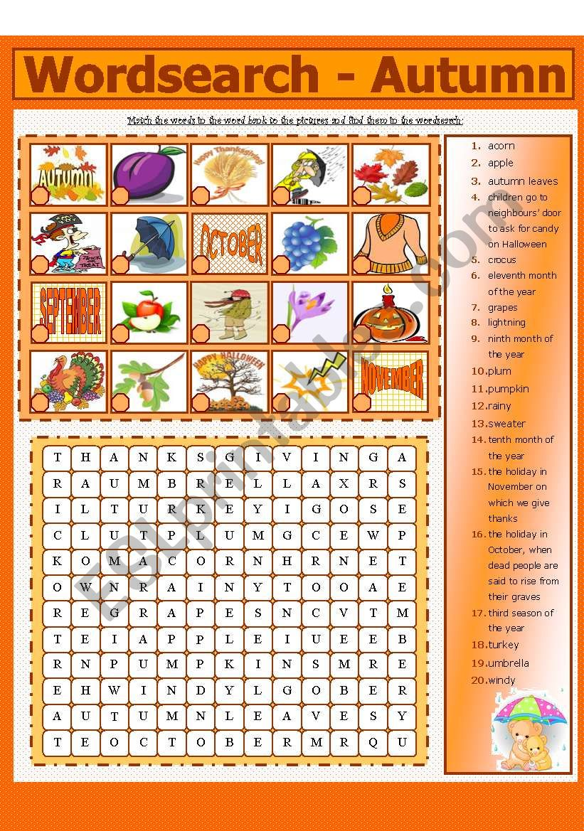 WORDSEARCH - AUTUMN (6 - 8) worksheet