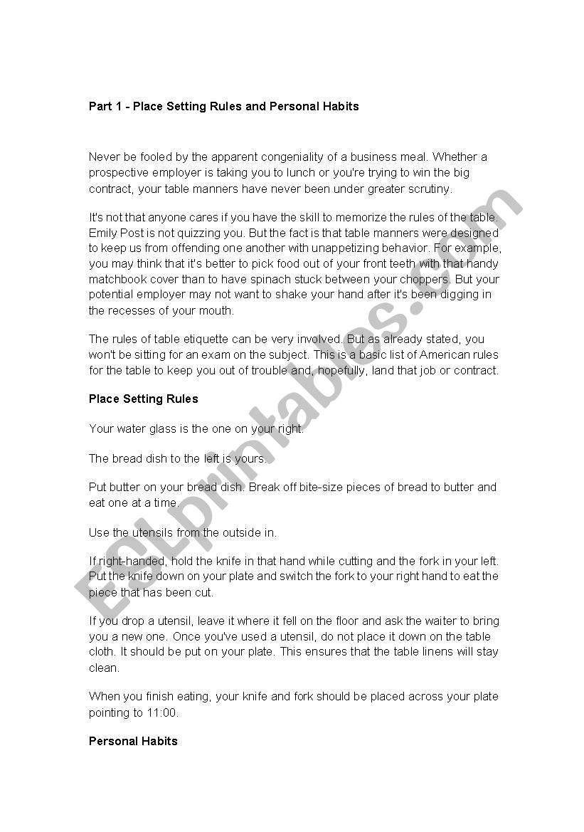 English Worksheets Business Table Manners