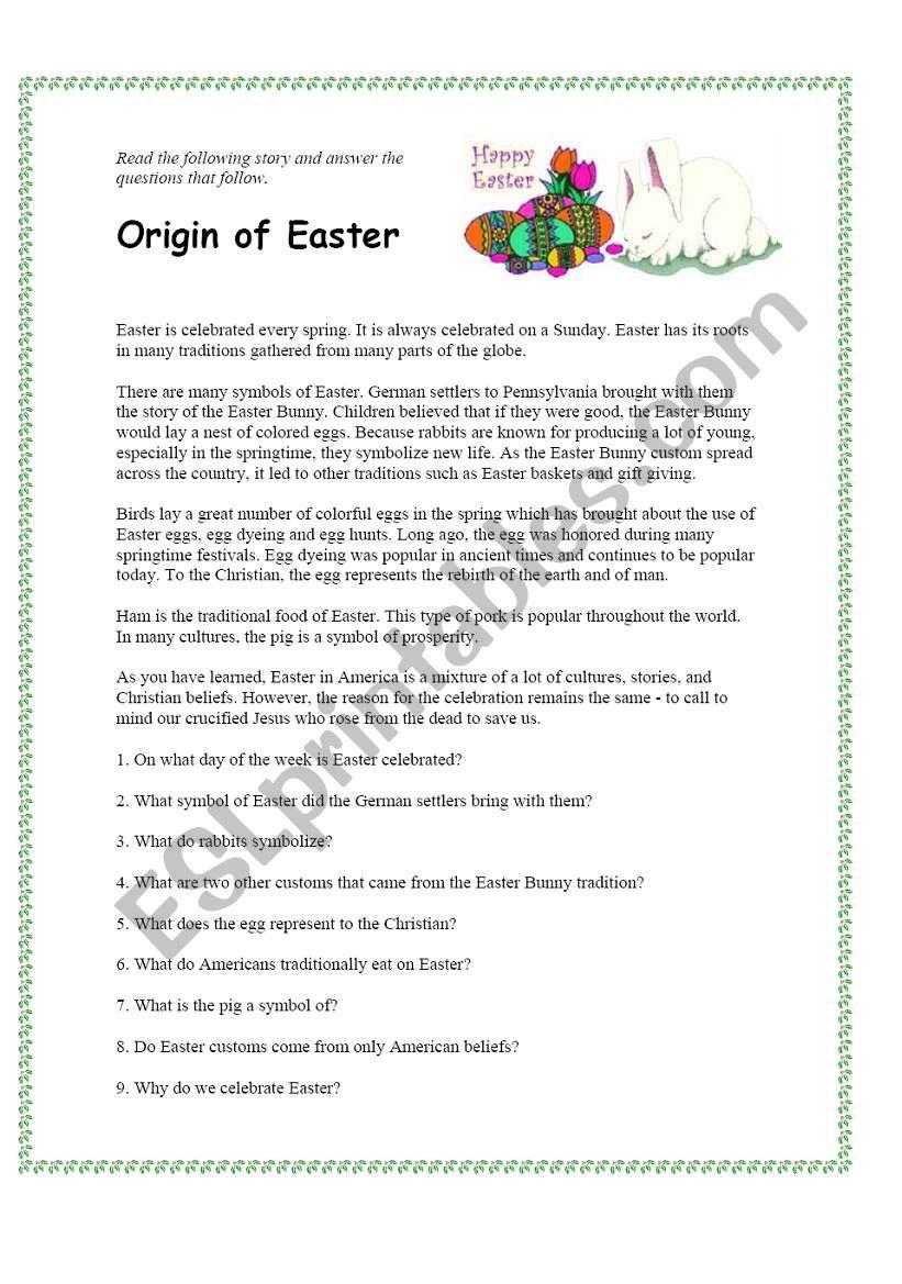 Origin of Easter worksheet