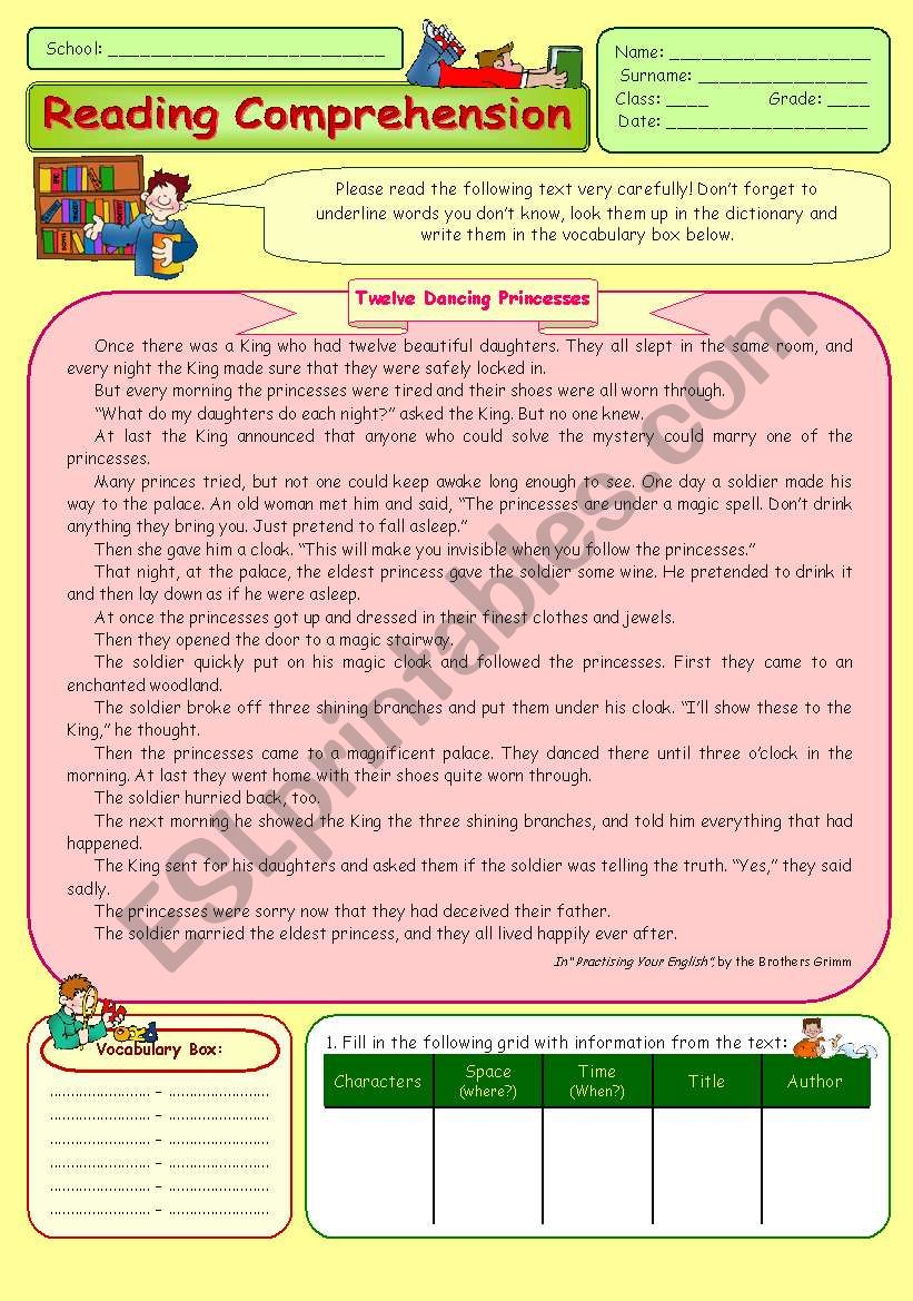 Reading Comprehension Twelve Dancing Princesses Esl Worksheet