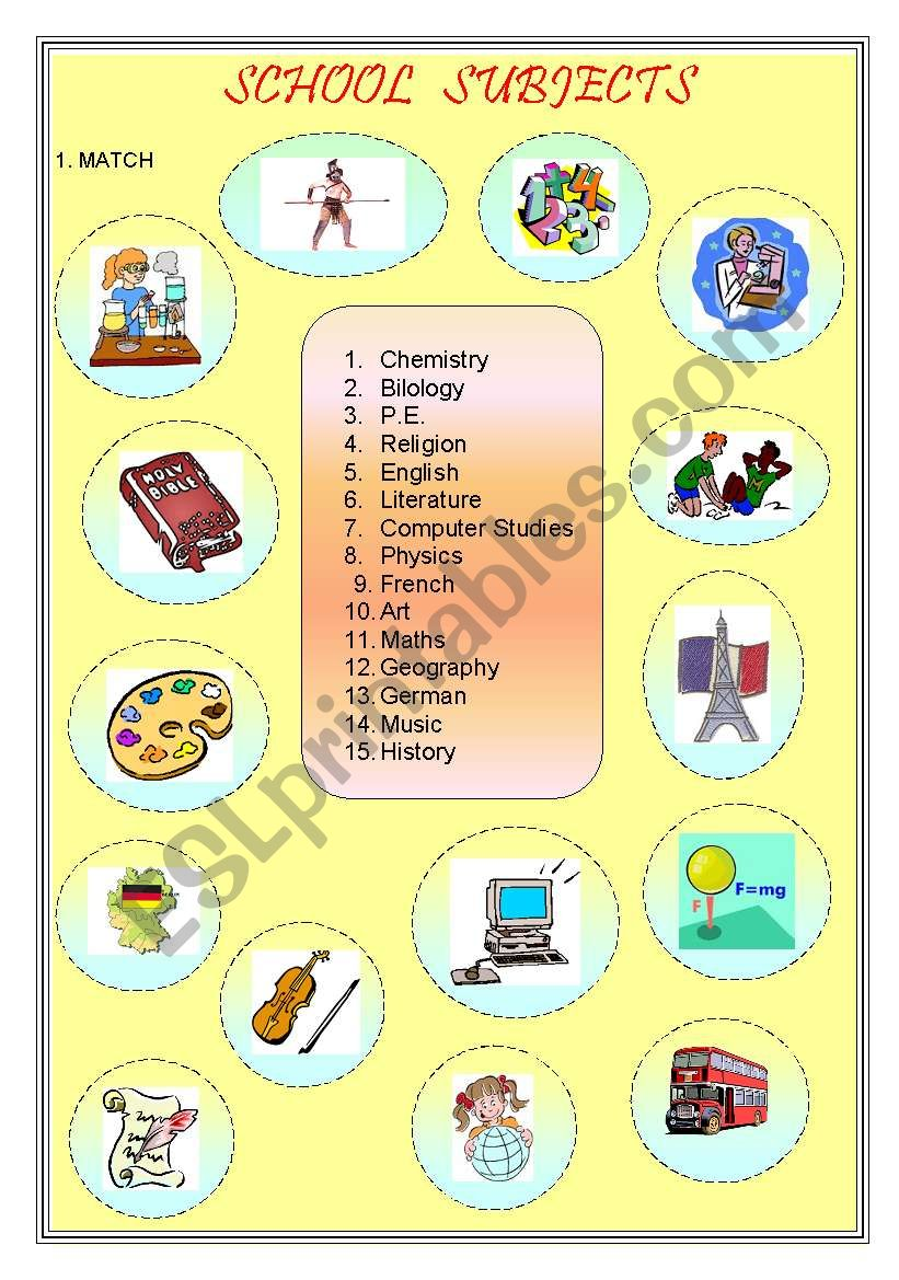 School subjects worksheet