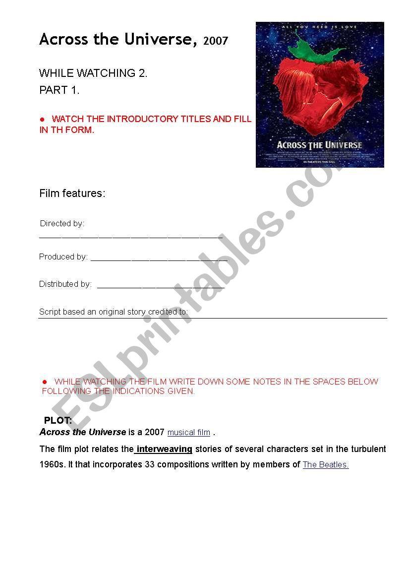 MOVIE: Across the Universe 2007 part 2 - ESL worksheet by anastasia ...