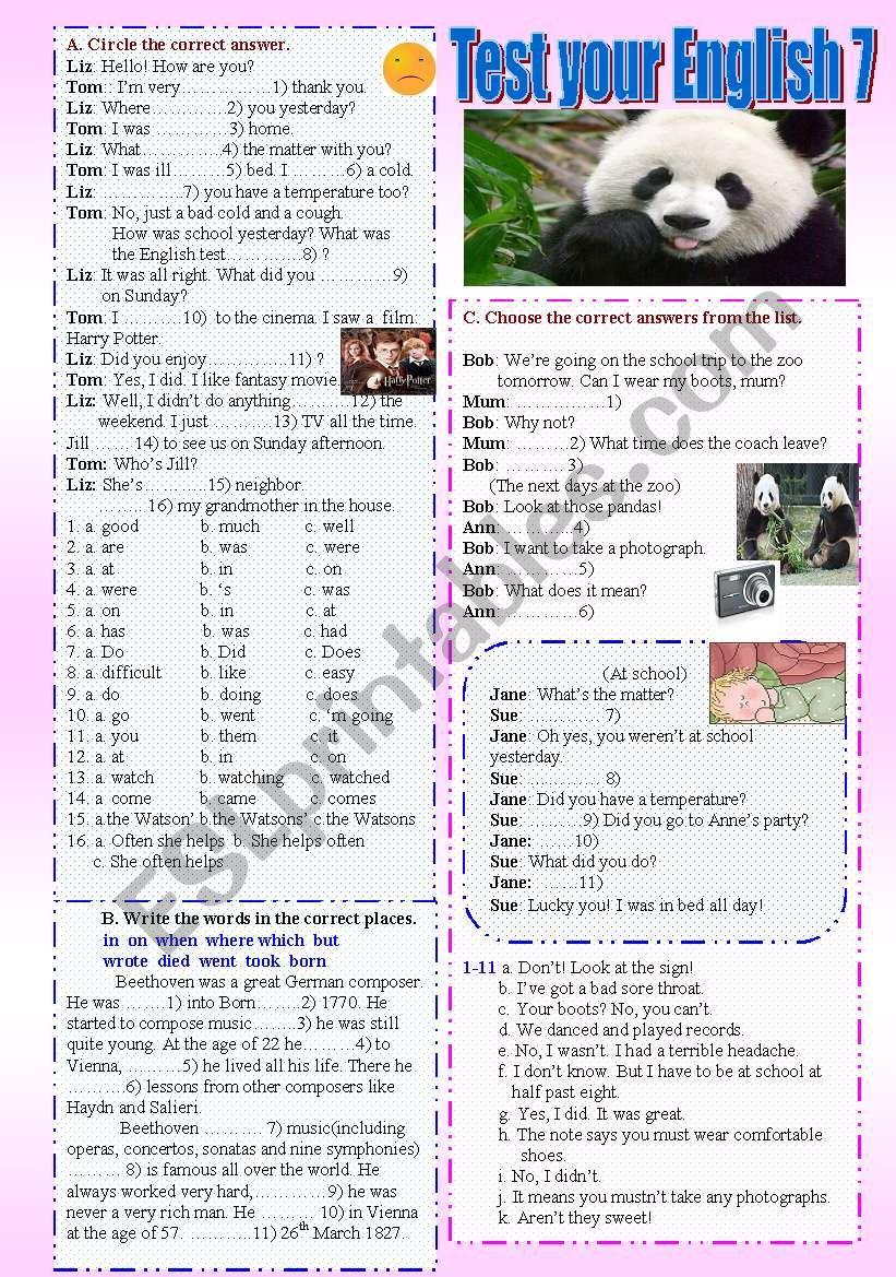 Test your English 7 worksheet