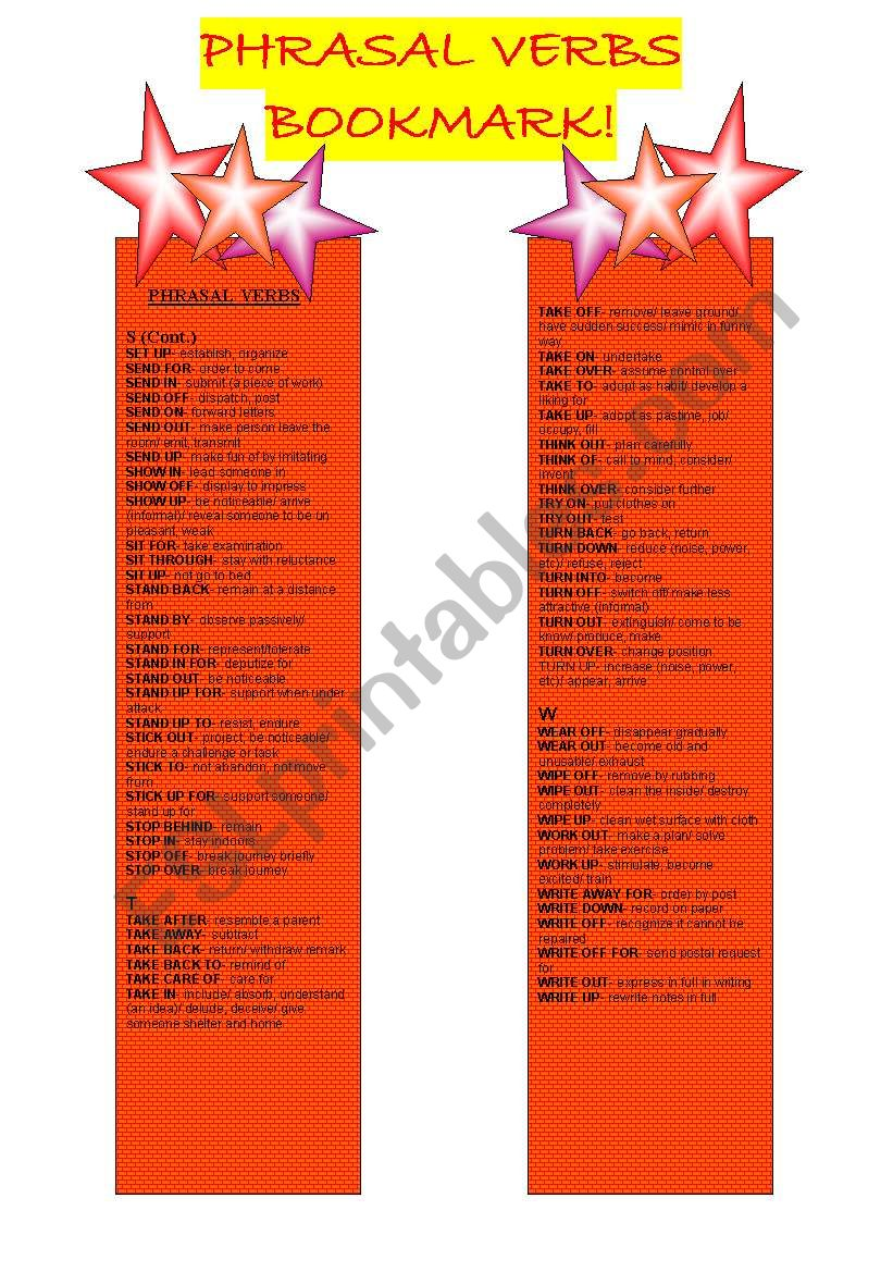 PHRASAL VERBS - BOOKMARKS - 5TH PART (and Final)