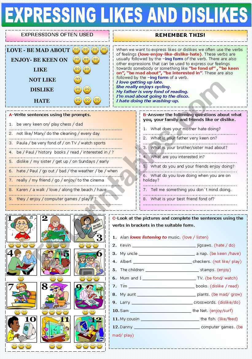 EXPRESSING LIKES AND DISLIKES worksheet