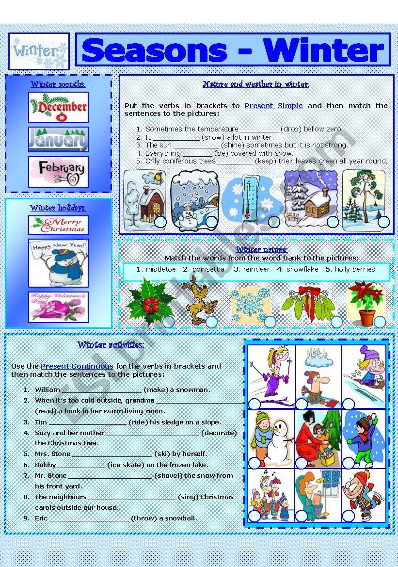 SEASONS - WINTER (7 - 8) worksheet
