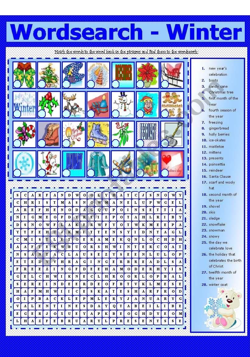WORDSEARCH - WINTER (8 - 8) worksheet