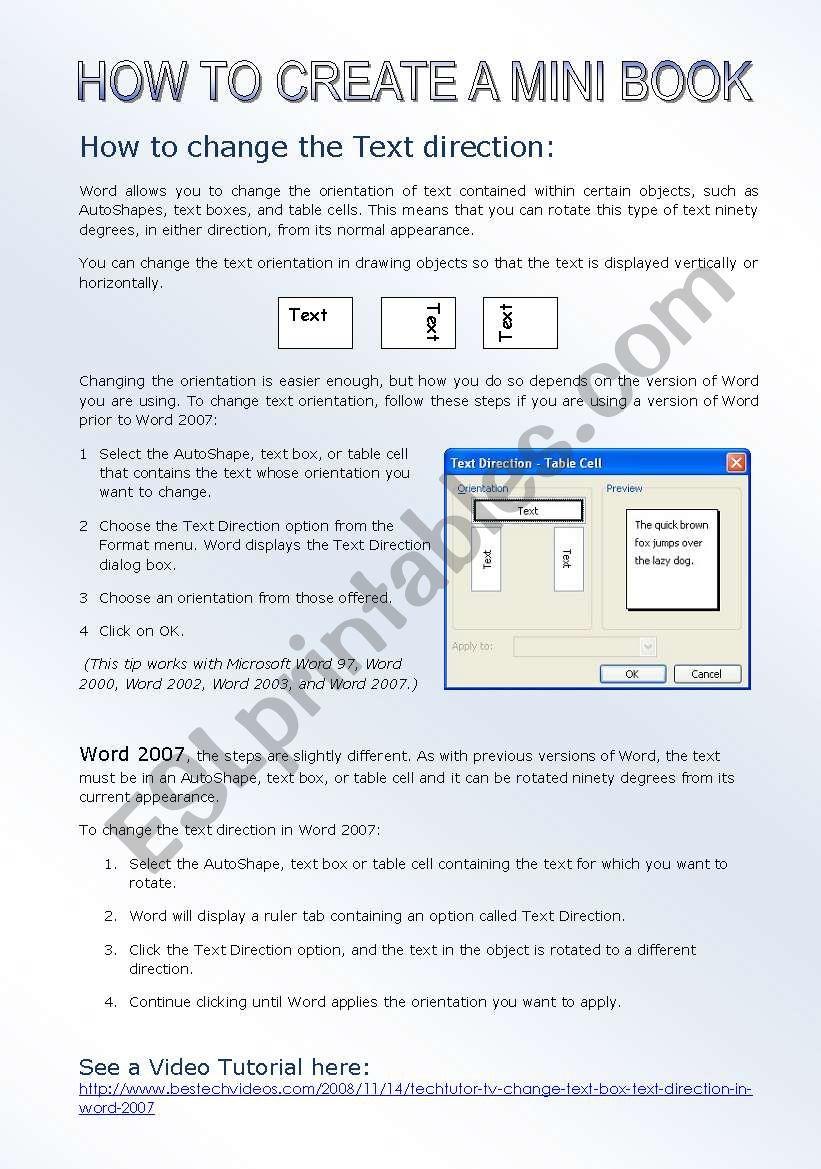 How to create a mini book worksheet