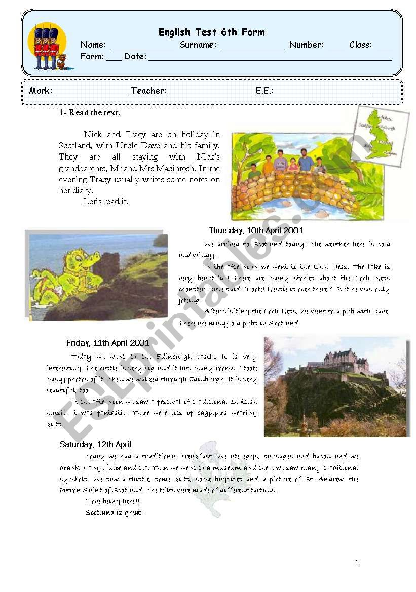 test about scotland worksheet