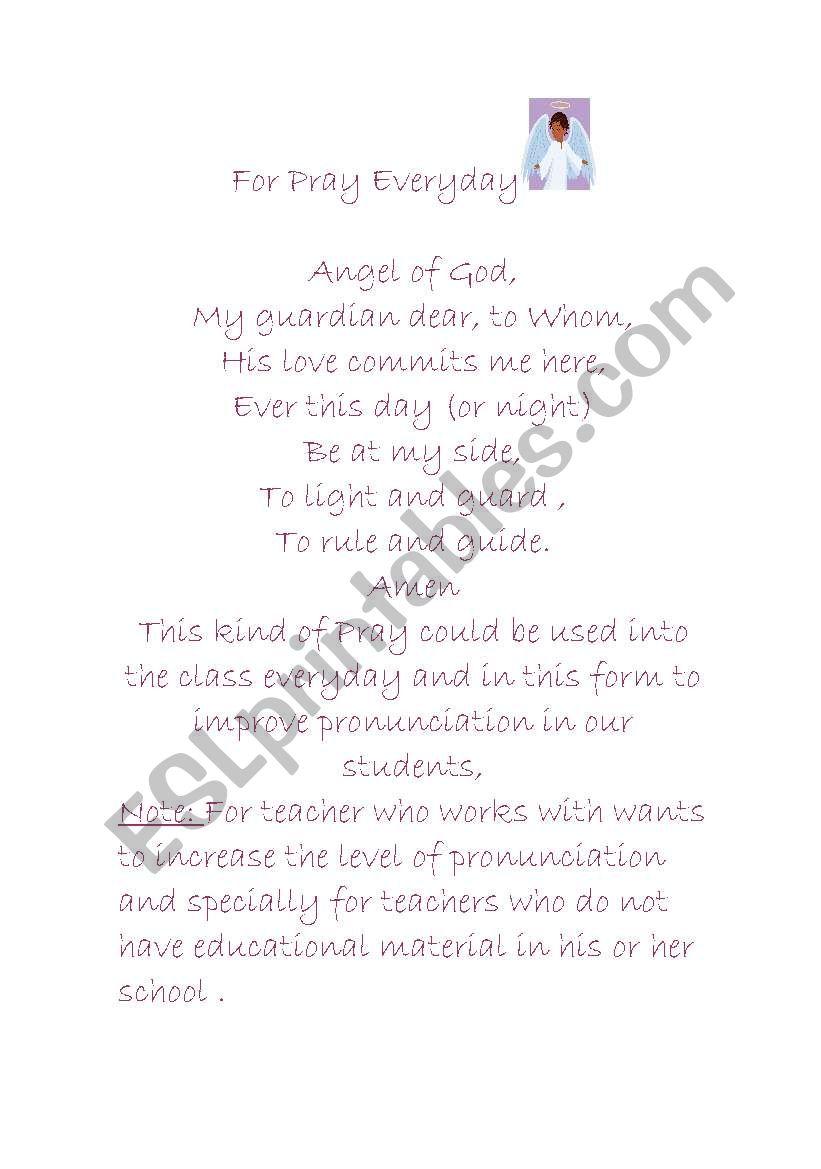 Angel Of God (APray) worksheet