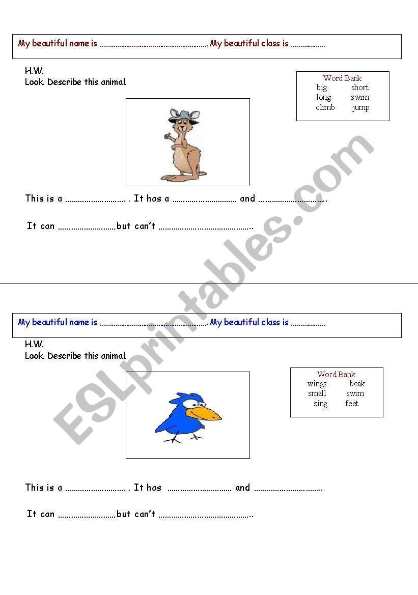 Look. Describe the animal. 2pages worksheet