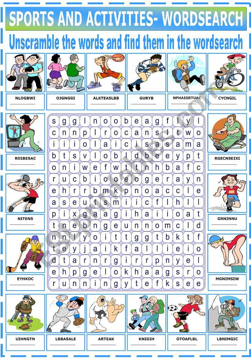 sports and activities wordsearch esl worksheet by katiana. Black Bedroom Furniture Sets. Home Design Ideas