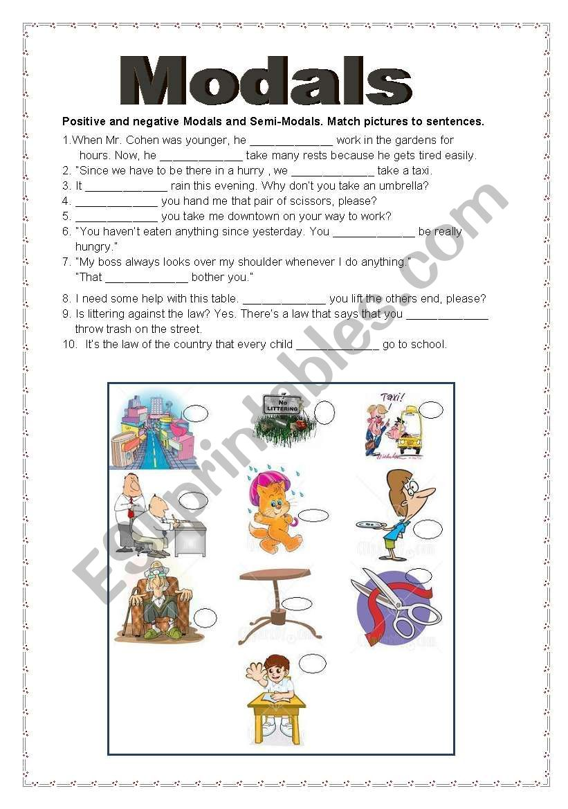Modals and Tenses (2 pages) worksheet