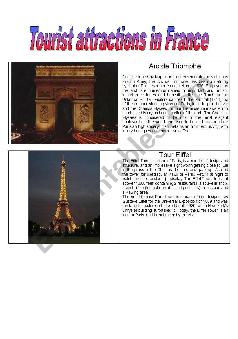 Tourist Attractions in France worksheet
