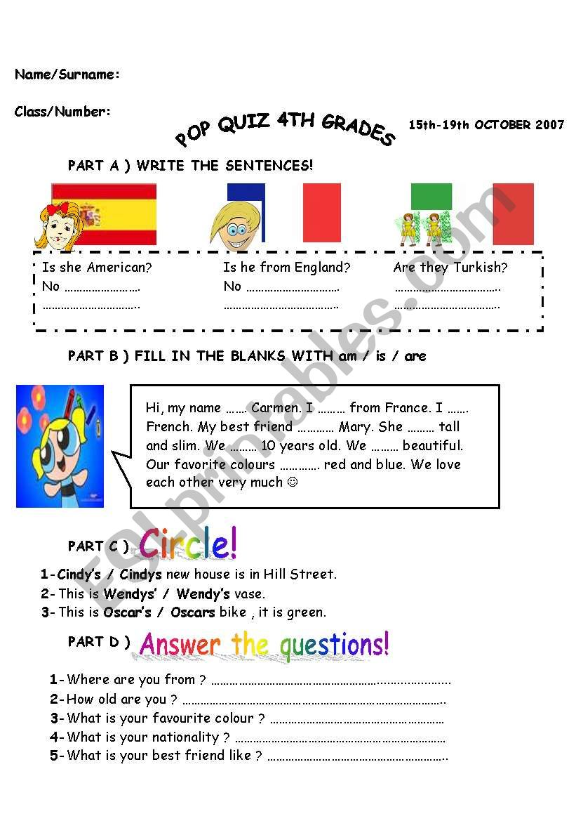 Colourful And Interesting 4th Gardes Quiz Esl Worksheet By Sstt