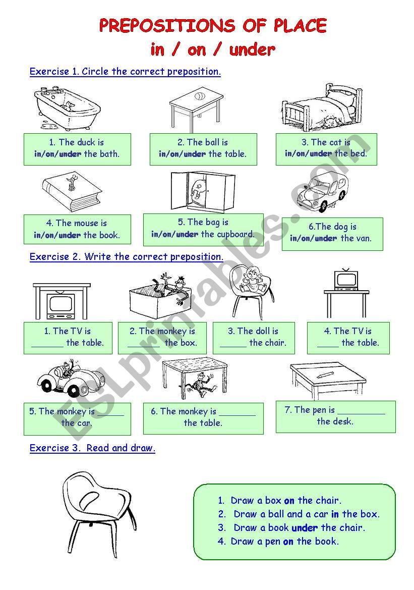 English Worksheets Prepositions Of Place Inonunder