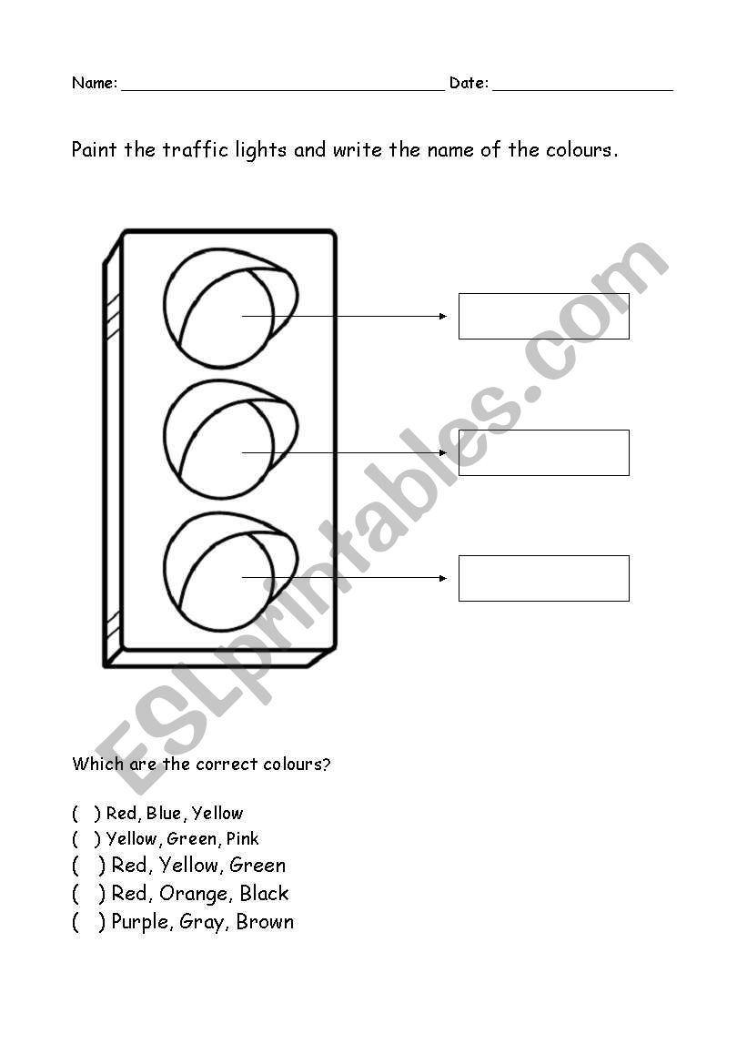 Colour The Traffic Light - ESL worksheet by leticiaa