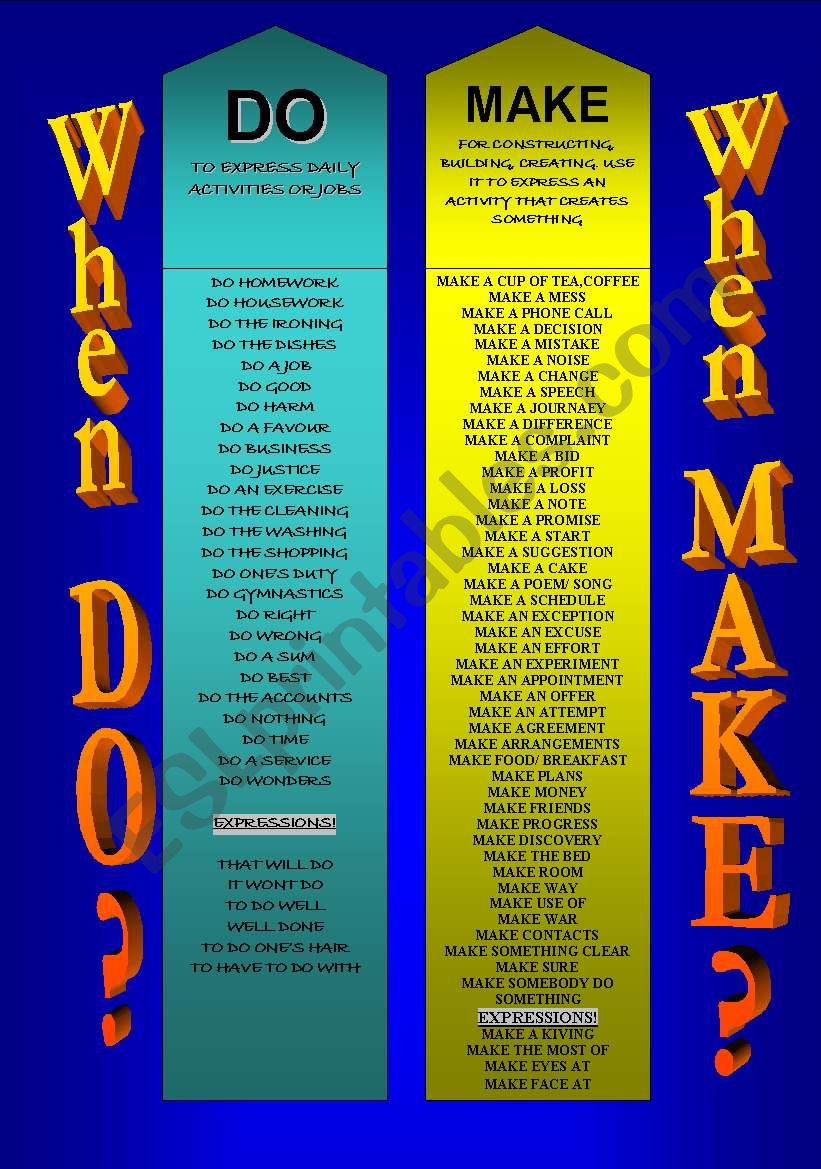 DO or MAKE? - BOOKMARKS worksheet