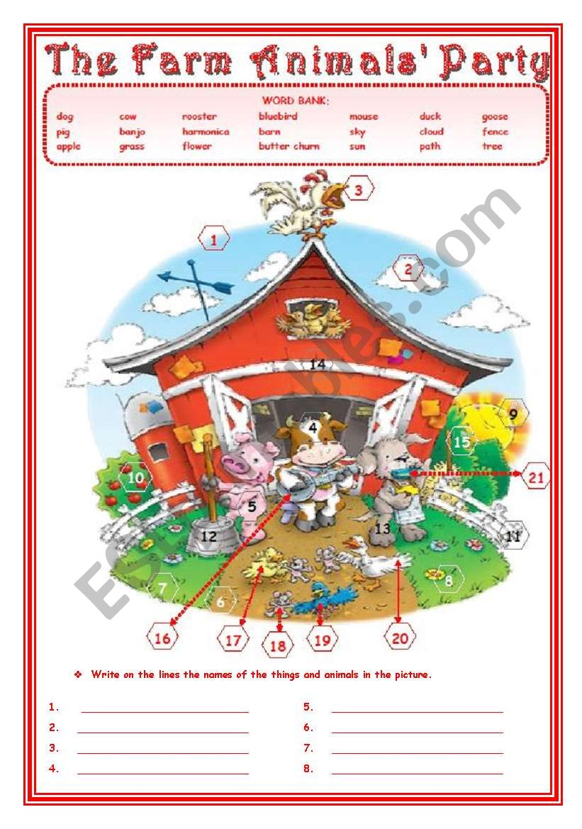 THE FARM ANIMALS´ PARTY   2 pages
