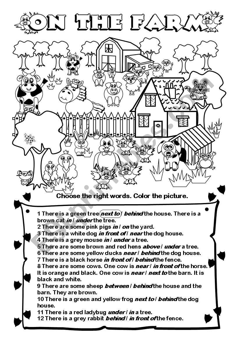 Preposition In Learn In Marathi All Complate: English Worksheets: On The Farm