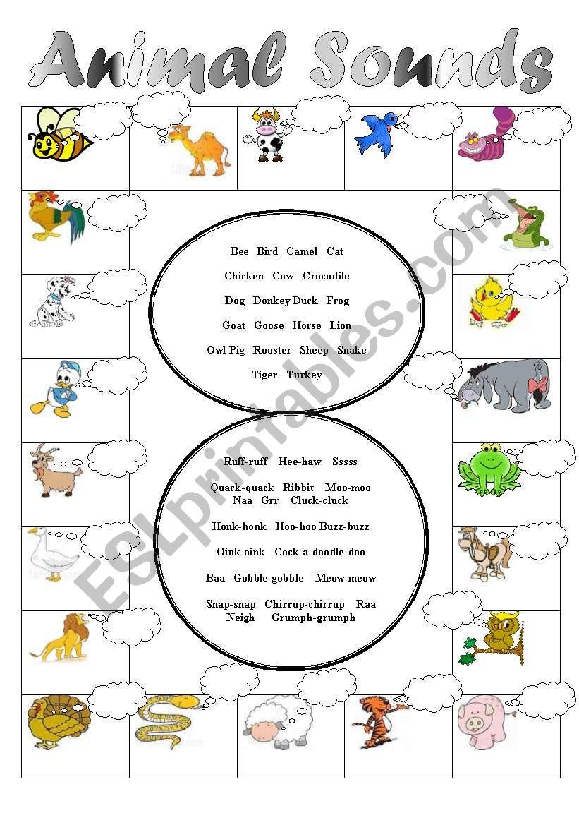 Animal Sounds Matching! worksheet
