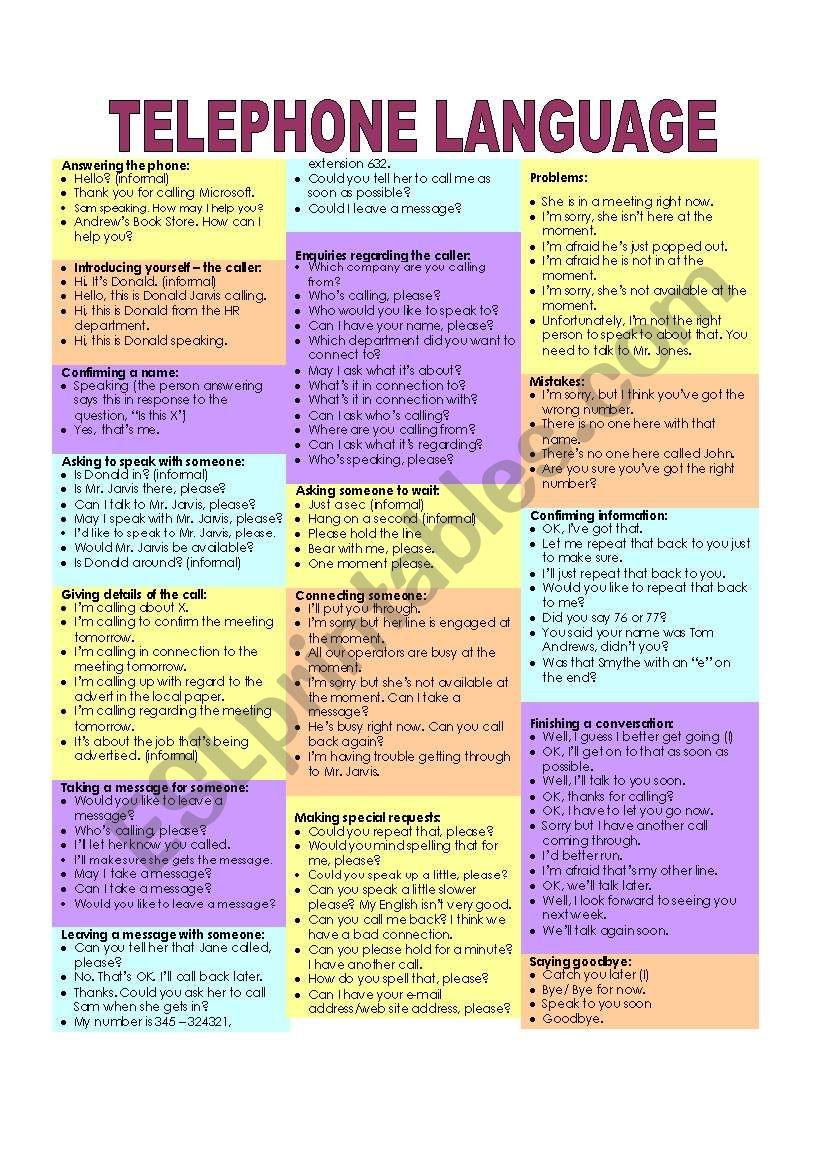 Telephone language worksheet
