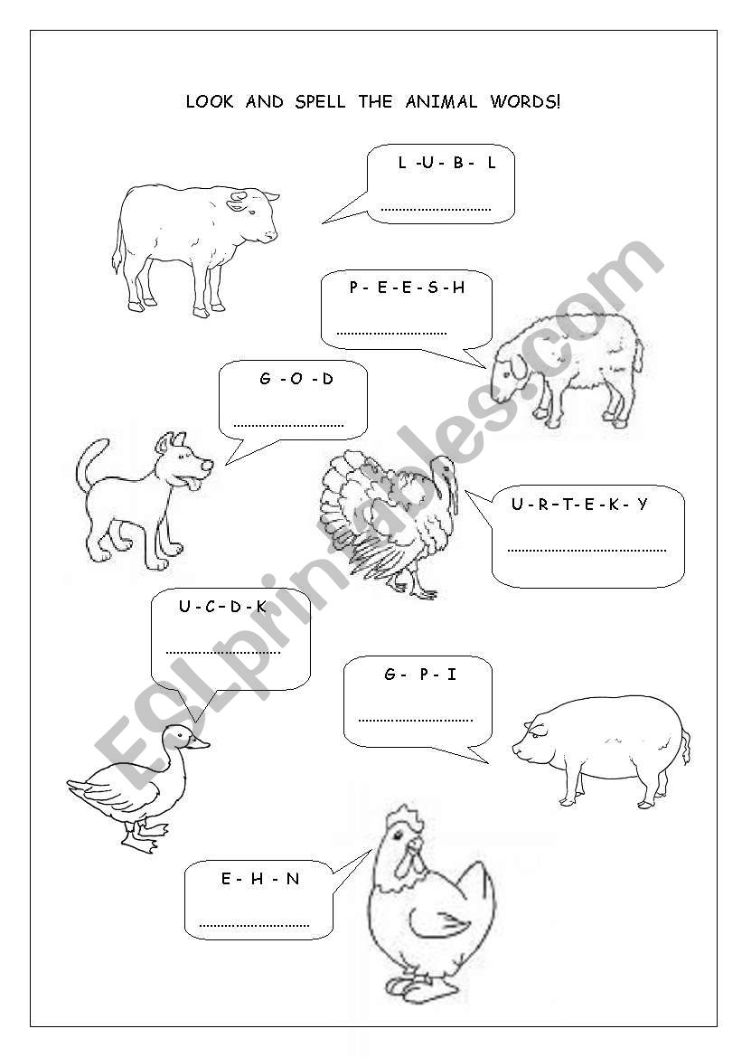 Look and spell the animal words 2