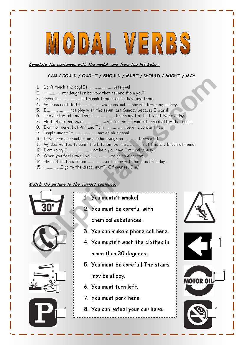 Modal verbs can could may might should must exercises