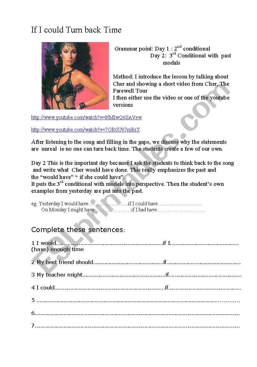 If I Could Turn Back Time Esl Worksheet By Joy2bill