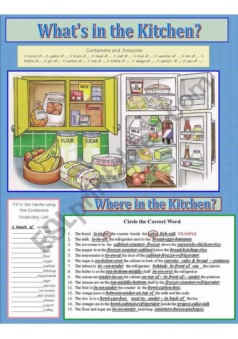 FOOD: What´s in the Kitchen? worksheet