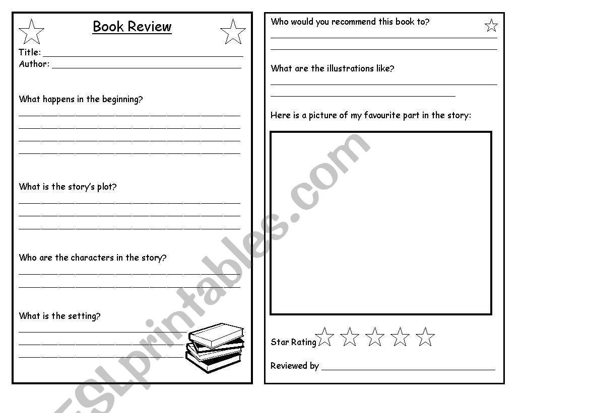 Book Review Template | Book Review Template Esl Worksheet By Sairer