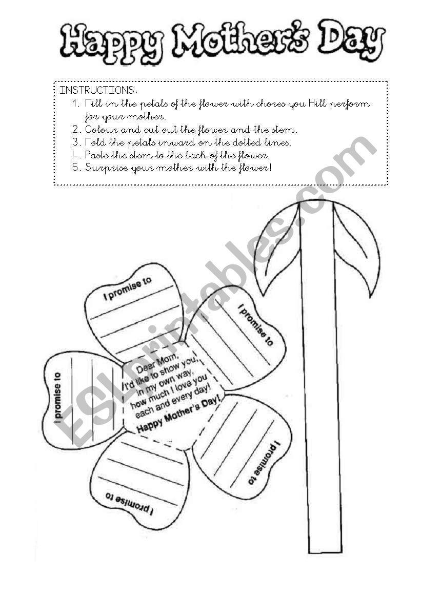 mother s day craft esl worksheet by mandm. Black Bedroom Furniture Sets. Home Design Ideas