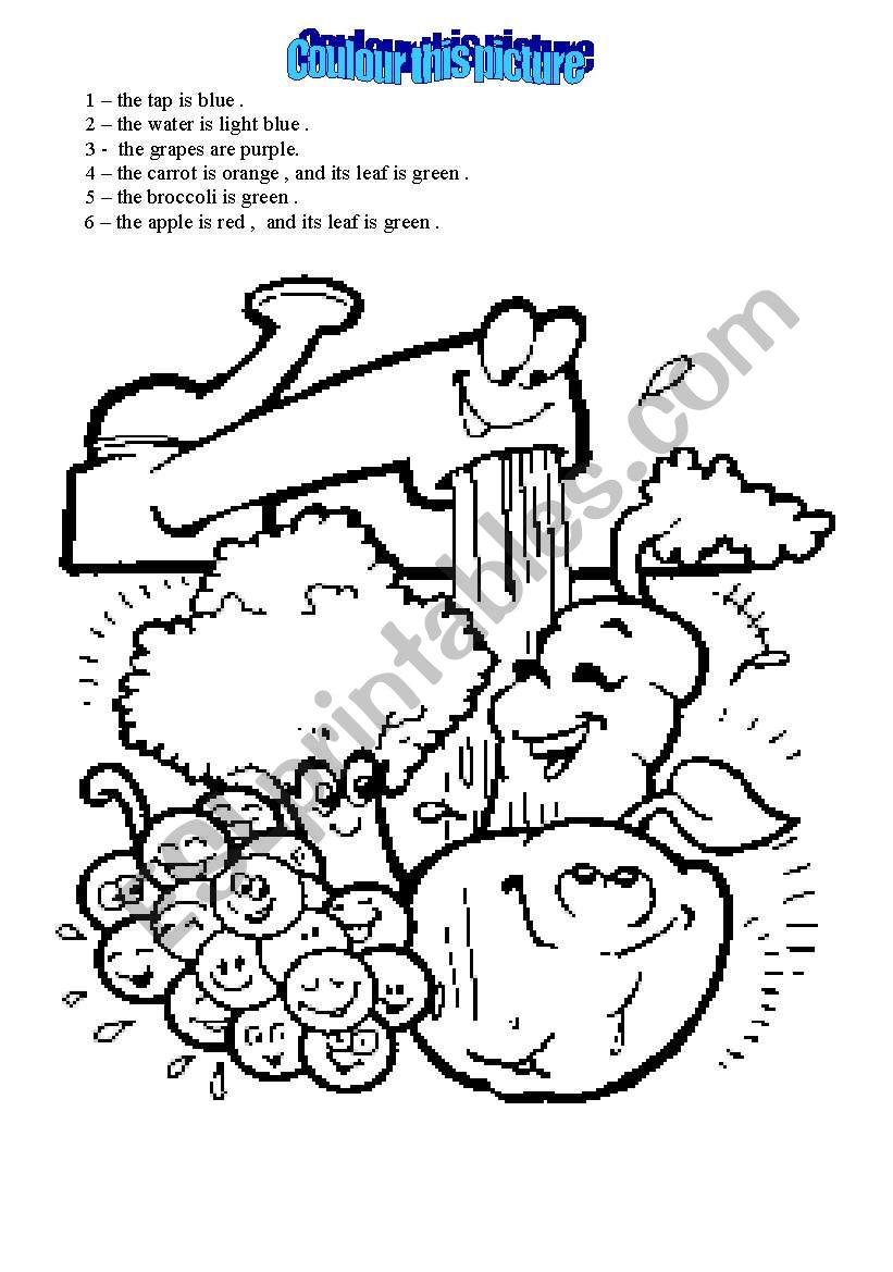 colour food worksheet