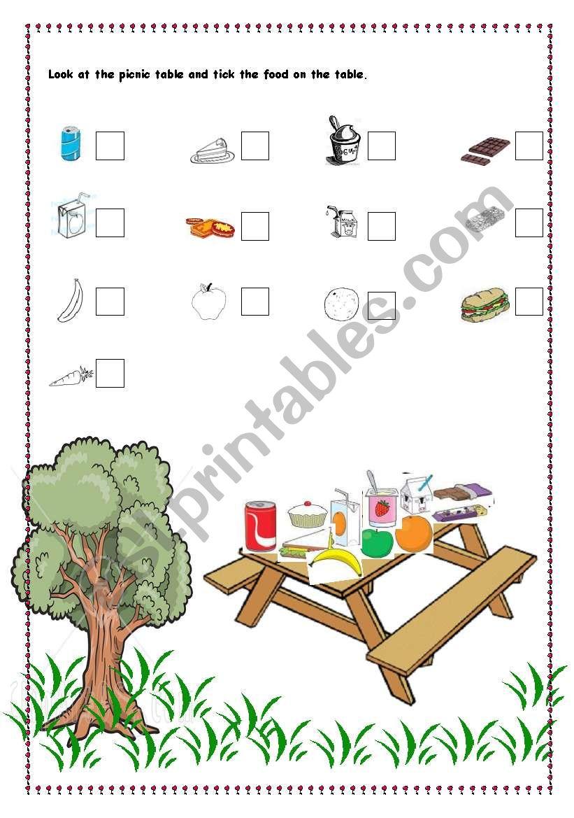 Foods On The Picnic Table Esl Worksheet By Elaa