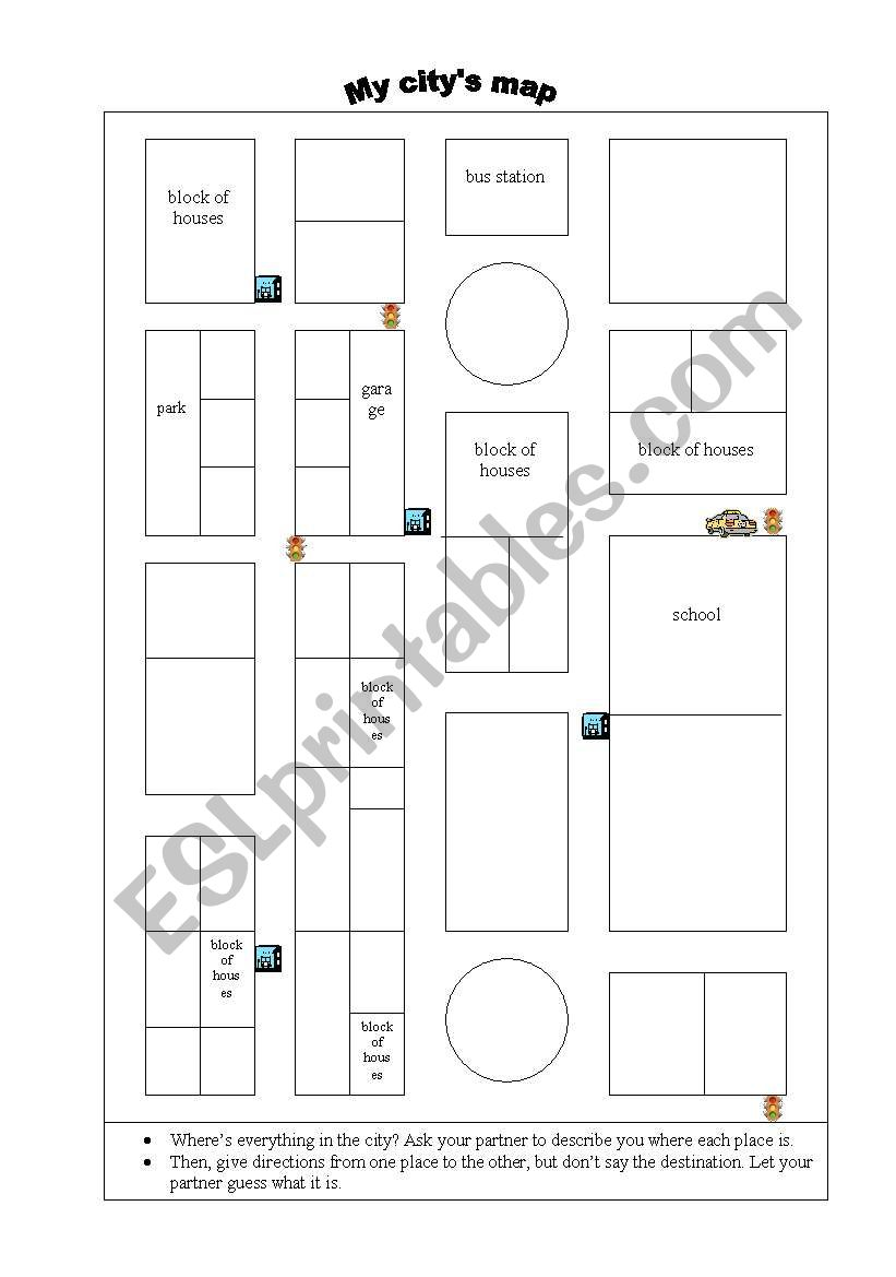 my city map esl worksheet by egonbet. Black Bedroom Furniture Sets. Home Design Ideas