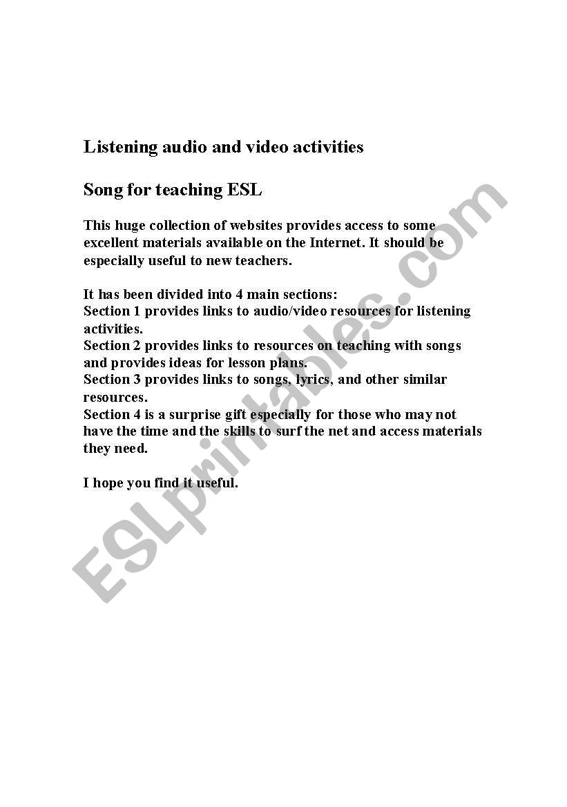 Timesavers Songs for Teaching ESL - audio and video activities Resource Booklet