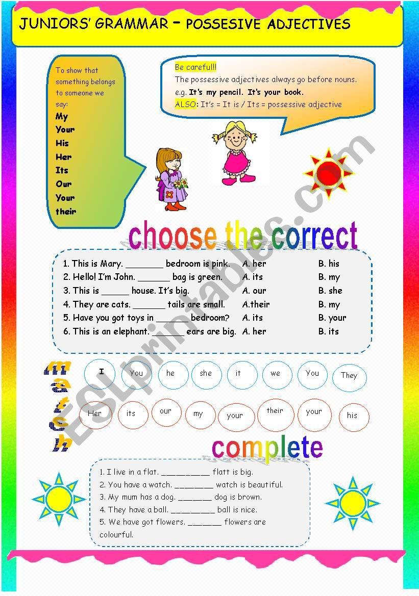 JUNIORS´ GRAMMAR - POSSESSIVE ADJECTIVES - ESL worksheet by nkappa