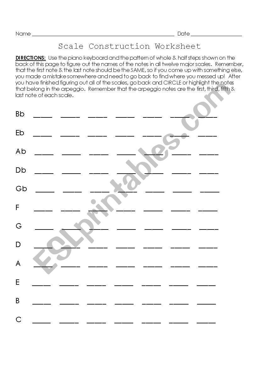 Scale Construction Worksheet worksheet