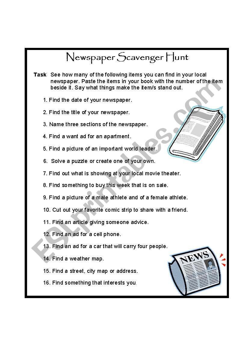 Newspaper Scavenger Hunt - ESL worksheet by Amanda K