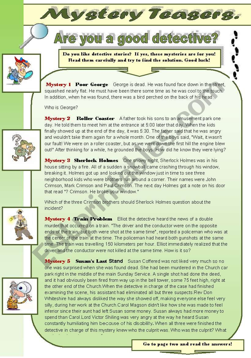 MYSTERY TEASERS PART 3! -  reading activity -amazing detective brain teasers for you and your students (with keys)