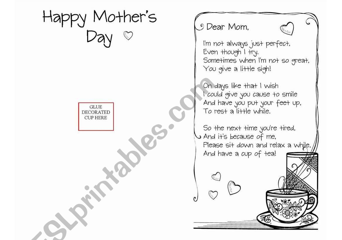Mother´s Day CUP OF TEA   Card  Craft instruction  set 3 pages