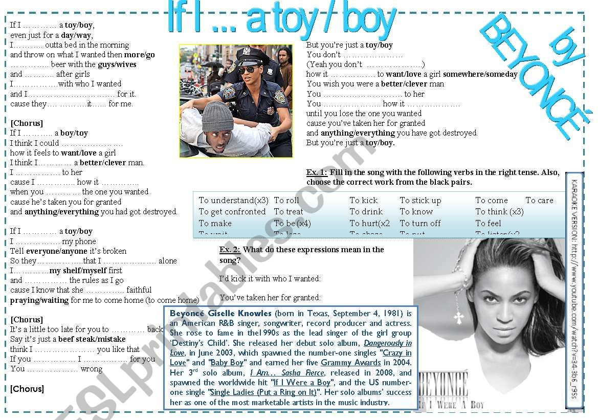 93431d38ad BEYONCE: IF I WERE A BOY (2ND CONDITIONAL) - ESL worksheet by laualso