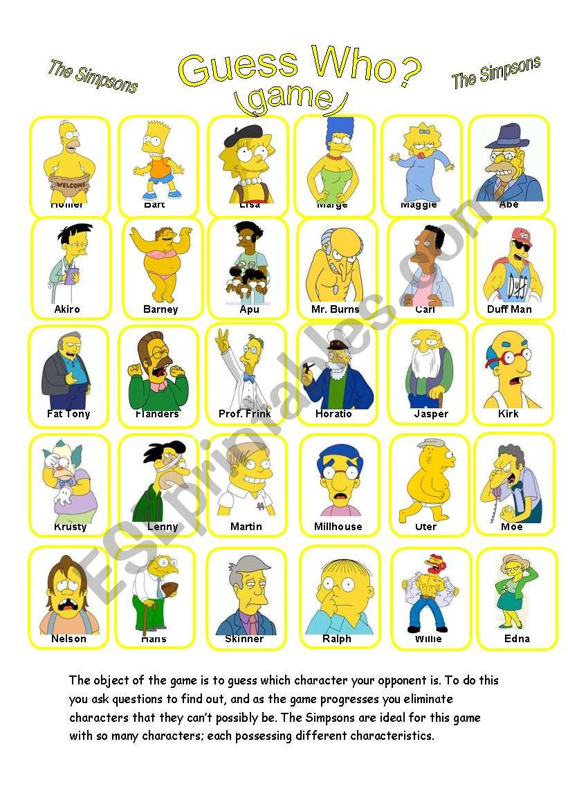 English Worksheets: GUESS WHO? (GAME