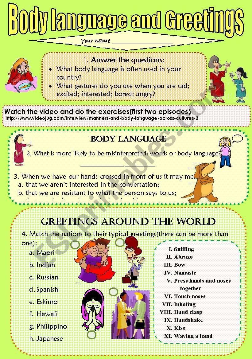 Body Language And Greetings Esl Worksheet By Naranjas